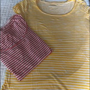 BUNDLE- scoop neck stripe t shirts.